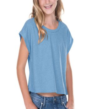 Kavio GJP0598 Girl's 7-16 Sheer Jersey Scoop Neck Boxy Crp Tee