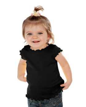 Kavio I1C0252 Infant Lettuce Edge Scoop Neck Cap Sleeve Top