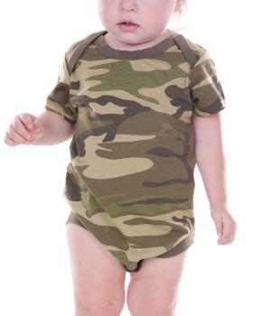 Kavio IJP0617 Infant Camouflage Lap Shoulder Short Sleeve Bodysuit
