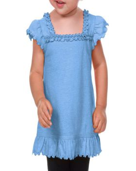 Kavio IJP0656 Infant Sheer Jersey Ruffle U Neck Flutter Sleeve Top