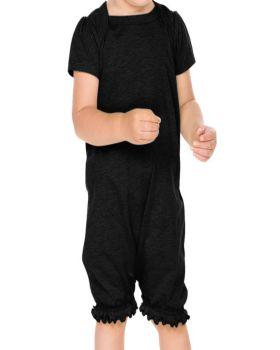 Kavio IJP0658 Infant Sheer Jersey Ruffle Hem Lap Shoulder Puff Sleeve Ro ...