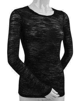 Kavio JJB0446 Women's Camouflage Striped Burnout Twisted Crew Neck Long  ...