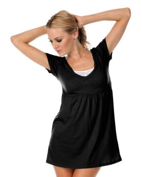 Kavio JJP0499 Women's Sheer Jersey Deep V Neck Short Sleeve Dress Silico ...