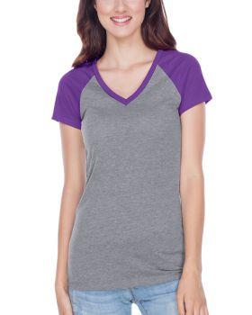 Kavio JJP0567 Women's Sheer Jersey Contrast V Neck Raglan Short Sleeve