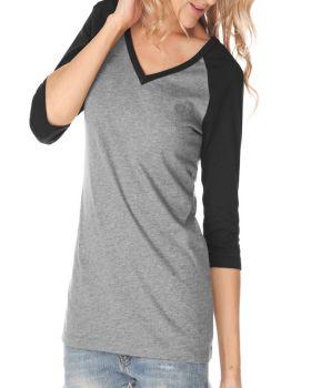 Kavio JJP0568 Women's Sheer Jersey Contrast V Neck Raglan Quarter Sleeve