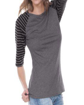 Kavio JJP0636 Women's Striped Jersey Contrast Raglan Quarter Sleeve