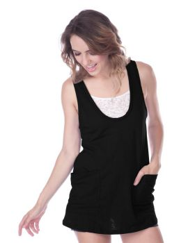 Kavio JJS0529 Women's Slub Jersey Dp Scoop Neck Double Pocket Tank Dress