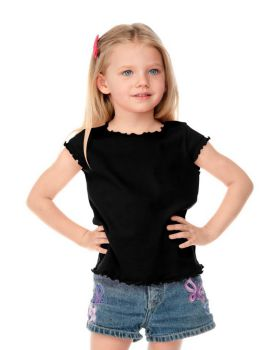 Kavio P1C0245 Girl's 3-6X Lettuce Edge Scoop Neck Cap Sleeve Top