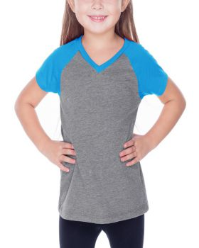 Kavio PJP0567 Girl's 3-6X Sheer Jersey V Neck Raglan Short Sleeve