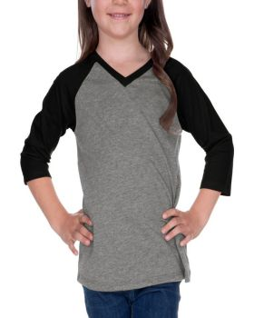 Kavio PJP0568 Girl's 3-6X Sheer Jersey V Neck Raglan Quarter Sleeve