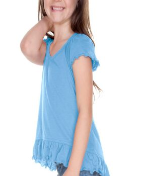 Kavio PJP0638 Girl's 3-6X Sheer Jersey High Low Flutter Top