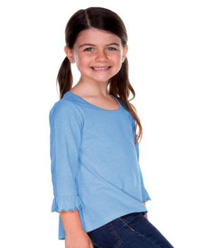 Kavio PJP0640 Girl's 3-6X Sheer Jersey Ruffled Quarter Sleeve High Low Top