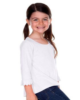 Kavio PJP0640 Girl's 3-6X Sheer Jersey Ruffled Quarter Sleeve High Low Top