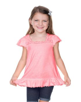 Kavio PJP0656 Girl's 3-6X Sheer Jersey Ruffle U Neck Flutter Sleeve Top