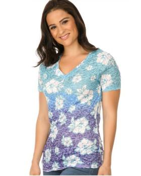 Kavio WBP0054 Women's Burnout Tropical Flower Sblmtn V Neck Short Sleeve