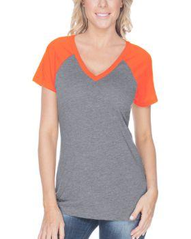 Kavio WJP0567 Women's Sheer Jersey Contrast V Neck Raglan Short Sleeve