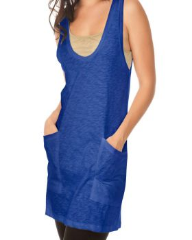 Kavio WJS0529 Women's Slub Jersey Dp Scoop Neck Double Pocket Tank Dress