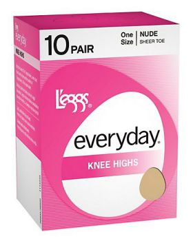 L'eggs 39800 Women's Everyday Knee Highs St 10 Pair