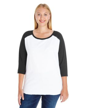 LAT 3830 Curvy Collection Women's Baseball Tee