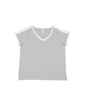 LAT 3832 Ladies' Curvy Soccer Ringer T-Shirt