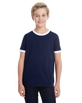 LAT 6132 Youth Soccer Ringer Fine Jersey T-Shirt