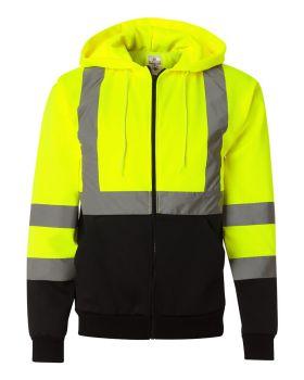 ML Kishigo JS102-103 Hi-Vis Hooded Full-Zip Sweatshirt
