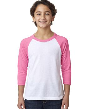Next Level 3352 Youth CVC 3/4-Sleeve Raglan T-Shirt