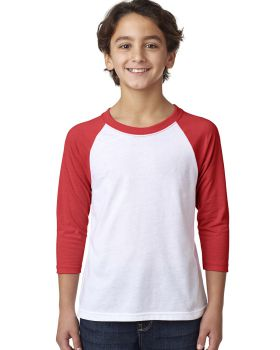 'Next Level 3352 Youth CVC 3/4-Sleeve Raglan T-Shirt'