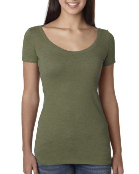 Next Level 6730 Ladies Rayon Triblend Cotton Scoop T-Shirt