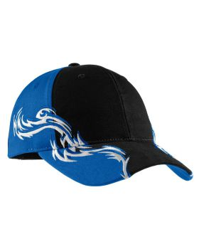 Port Authority C859 Racing Cap with Red and White Flames