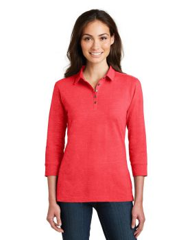 Port Authority L578 Ladies 3/4-Sleeve Meridian Cotton Blend Polo Shirt