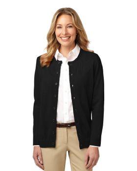 Port Authority LSW304 Ladies Value Jewel-Neck Cardigan Sweater