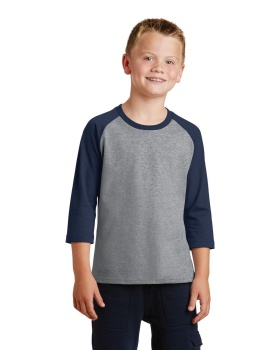 Port & Company PC55YRS Youth Core Blend 3/4-Sleeve Raglan T-Shirt