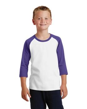 Port & Company PC55YRS Youth Core Blend 3/4-Sleeve Raglan T-Shirt