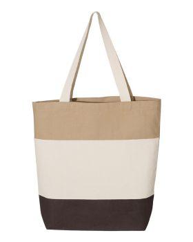 Q-Tees Q125900 Canvas Tri-Color Tote Bag