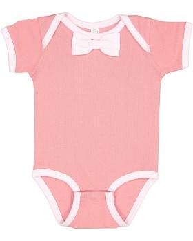 Rabbit Skins RS4407 Infant Baby Rib Bow Tie Bodysuit