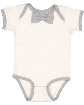 Rabbit Skins RS4407 Infant Baby Rib Bow Tie Bodysuit
