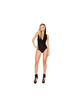 RomaCostume 3290 Hooded Romper With Slimmed Open Back Detail