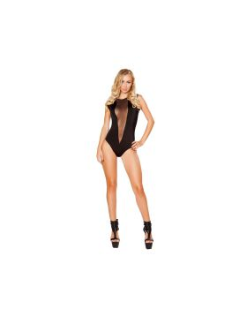 RomaCostume 3291 Romper With V-Shape Sheer Detail