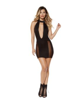 RomaCostume 3338 Cutout Dress With Sheer Mesh Slit