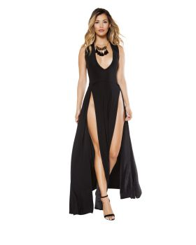 RomaCostume 3396 Maxi Length Dress With Front Slits