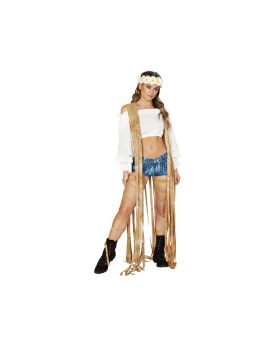 RomaCostume 3588 1Pc Brown Tie Dye Suede Vest With Long Fringe Detail