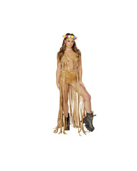 RomaCostume 3589 1Pc Brown Tie Dye Suide Long Fringe Open Front Skirt
