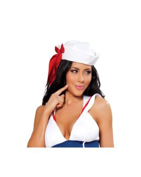RomaCostume H104 Sailor Hat With Red Ribbon