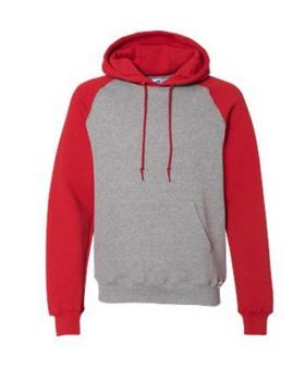 Russell Athletic 693HBM Dri Power Colorblock Raglan Hooded Sweatshirt