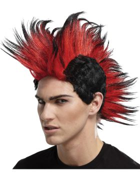 Seasonal visions MR179529 DOUBLE MOHAWK WIG BLACK RED BL
