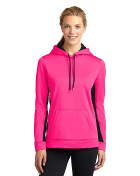Sport Tek LST235 Ladies Sport-Wick Fleece Colorblock Hooded Pullover