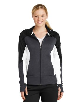 Sport Tek LST245 Ladies Tech Fleece Colorblock Full-Zip Hooded Jacket