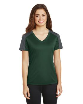 Sport Tek LST354 Ladies Posicharge Competitor Sleeve-Blocked V-Neck Tee
