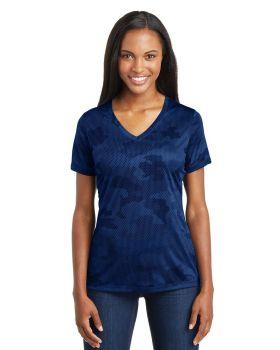 'Sport Tek LST370 Ladies Camohex V Neck T-Shirt '